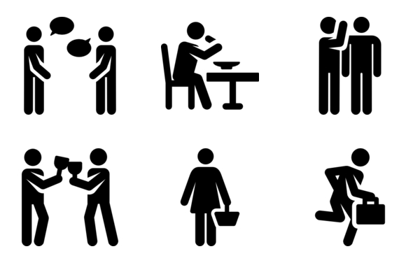 daily routine human pictograms