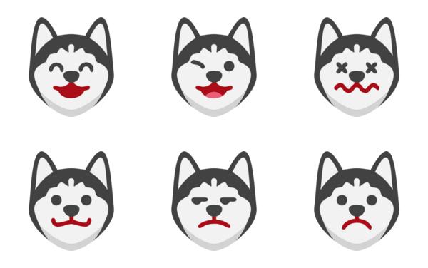 siberian husky dog emoticons
