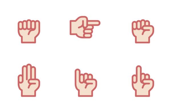 hand sign  filled line