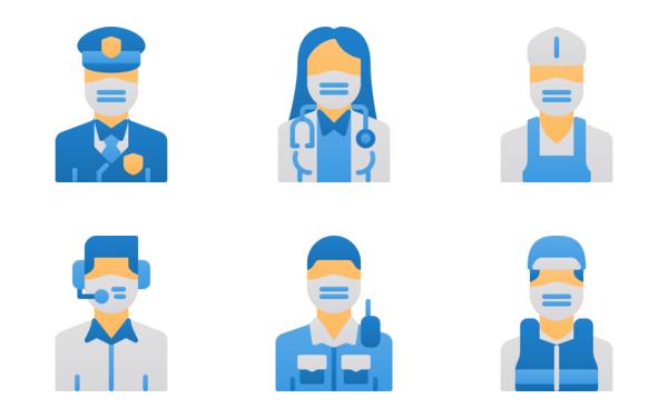business avatar wear face mask