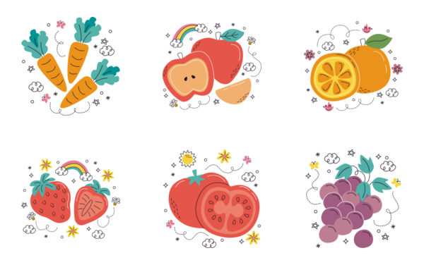 fruits and vegetables  flat 1 of 1