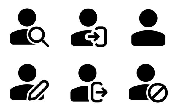 classic single user icon set